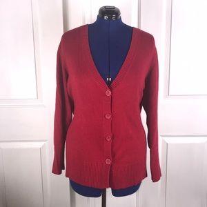 Worthington 3X  red v neck cardigan